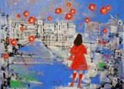 『青が散るによせて』2008年制作日本画/90.9×116.7cm(50F)