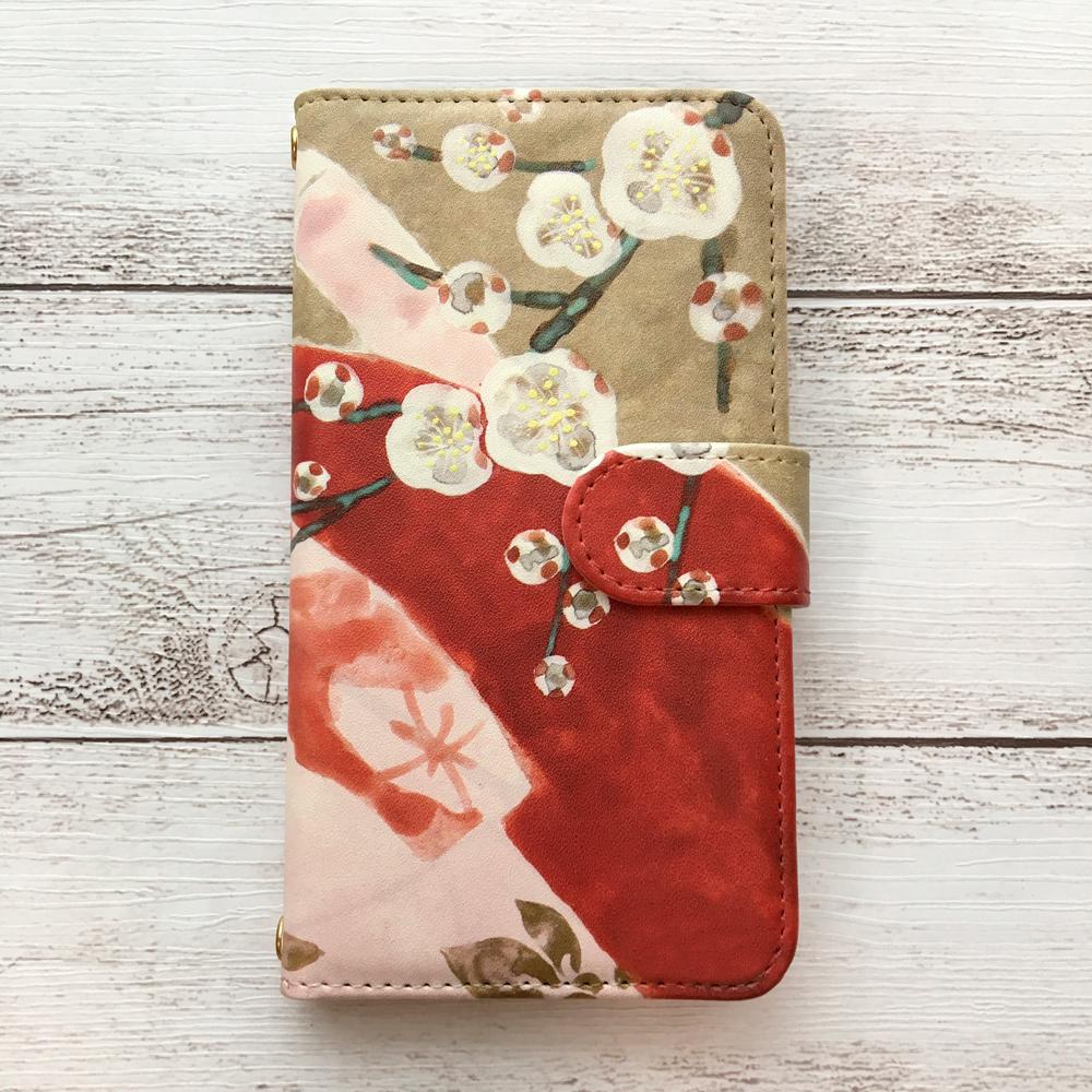 スマホケース「十二単と梅の花」