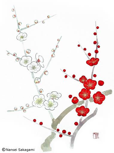 『紅白梅』