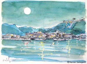 「月と勝浦港」