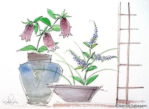 「信楽焼と花」